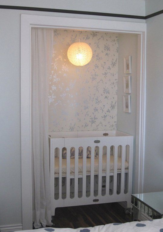 Nurseries in the Master Bedroom. His pack and play in the small closet. Maybe a small bookshelf or dresser too? Hang some sheer curtains?