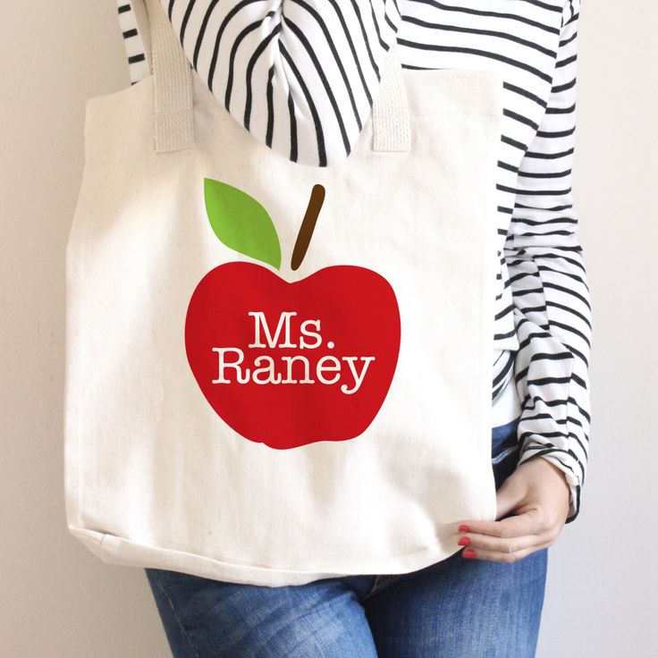 Teacher Tote Bag - Teacher Book Bag - Personalized - Teacher Gift - Apple Tote Bag by SwankyPress on Etsy https://www.etsy.com/listing/257167496/teacher-tote-bag-teacher-book-bag