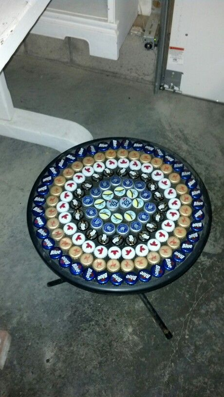 Beer bottle cap table things we 39 ve made pinterest for How to make things with bottle caps