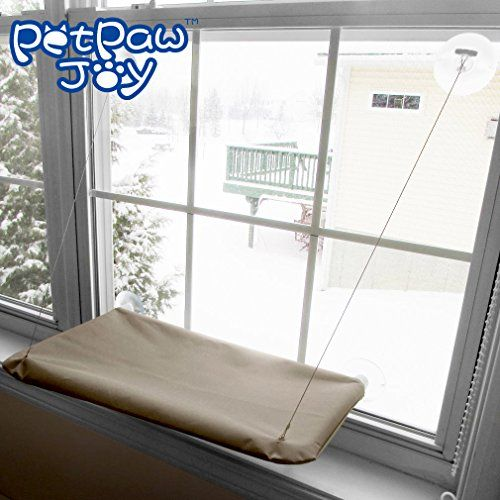 "SUNNY SEAT Cat Bed, Cat Window Perch Window Seat Suction Cups Space Saving Cat Hammock Pet Resting Seat Safety Cat Shelves - Providing all Around 360° Sunbath for Cats Weighted up to 30lb MEASUREMENT - 22"" x 12"" x 1.5"" ( L x W x H ); stainless steel cord length: 23""; suction cup diameter: 3.3""; strong enough to hold your cat up to 30lbs. 360° FREE OF DEAD CORNER SUNBATH - Basking in this cat window perch, your pet cat avoid moving again and again as long as the sun didn't g"