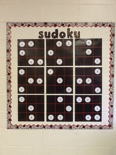 Sudoku bulletin board.  Great idea for independent math time for early finishers.
