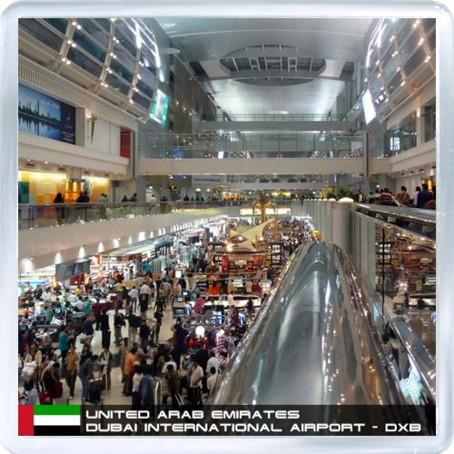 Acrylic Fridge Magnet: United Arab Emirates. Dubai International Airport DXB