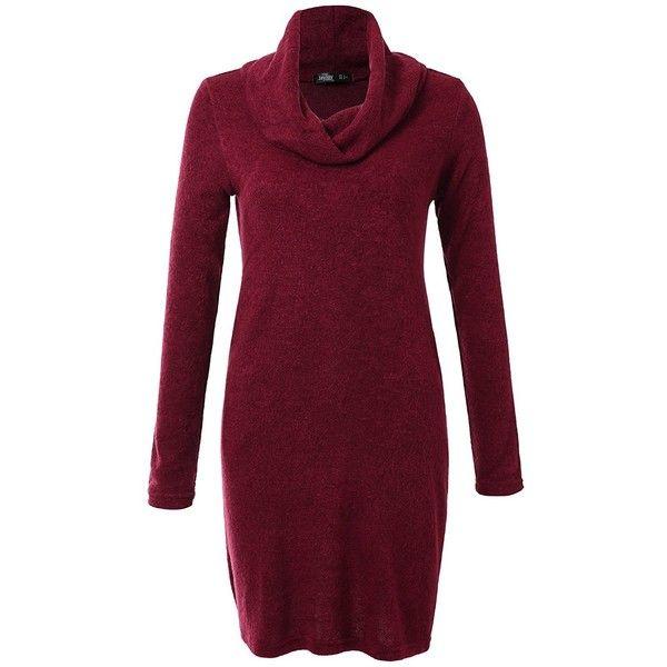 JayJay Women Vintage Cowl Neck Knit Sweater Long Sleeve Midi Pullover... (53 BRL) ❤ liked on Polyvore featuring dresses, purple vintage dress, purple long sleeve dress, pocket dresses, purple midi dress and cowl neck dress