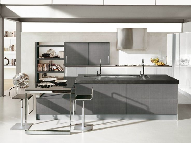 Lacquered oak kitchen with island Contempora Collection by Aster Cucine