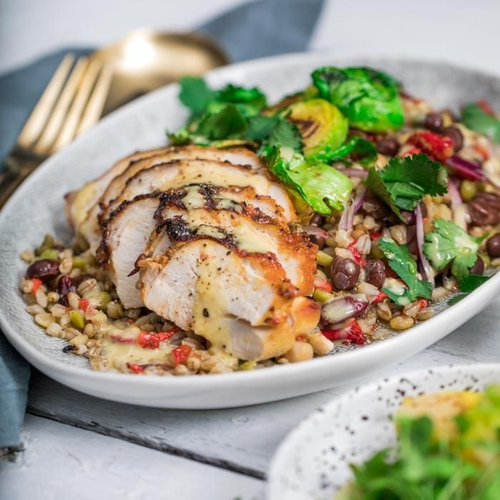 Youfoodz | Chicken Buddha Bowl $9.95 | Enjoy Moroccan-spiced chicken breast on a bed of shredded Brussel sprouts with a lentil salad, guest starring capsicum, red onion, coriander & sweet chilli. There's a maple lemon dressing to finish all off, leaving you feeling #Blessed | #Youfoodz #HomeDelivery #YoullNeverEatFrozenAgain
