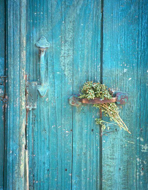 Turquoise door    Rural Crete doorway
