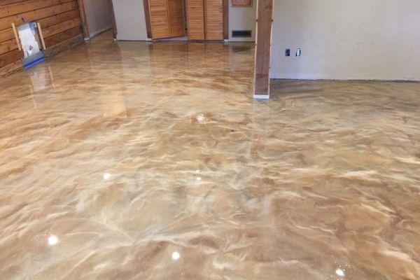 Pearl White Rose Gold Bronze Brown Epoxidharzboden Inkl Grundierung Epodex Polierter Beton Bodenbeschichtung Fussboden