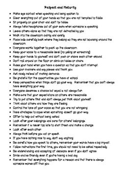 A page of notes in dot point form to give students very specific instructions on how to show respect and be mature around others.This could be displayed in the classroom or used to create a lesson to help manage particularly difficult students and to set very specific guidelines on acceptable and unacceptable behavior.