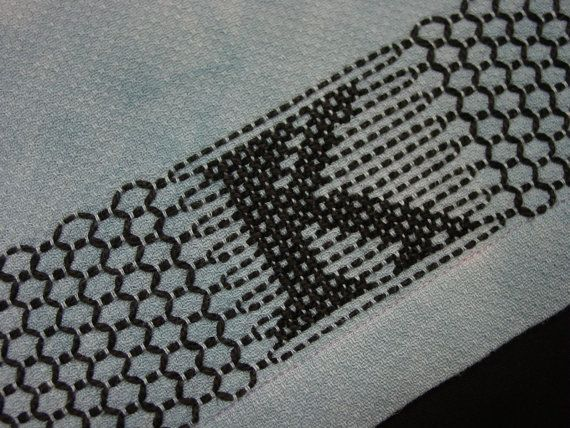 Vintage Huck Towel,Swedish Weaving with K Monogram, Hand Dyed in Blue