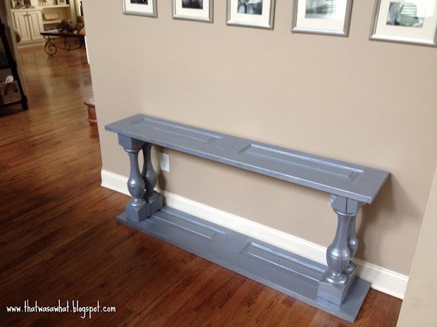 awesome console table made from balustrades and closet doors! amazing--I'll be diying this one :)