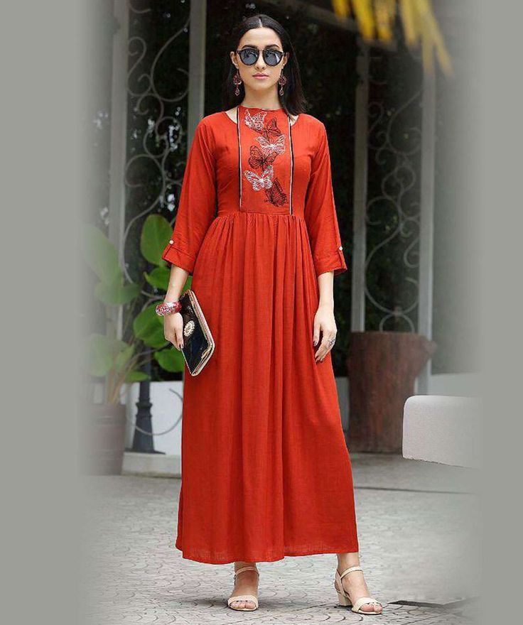 Orange Color Rayon western Gown Kurti