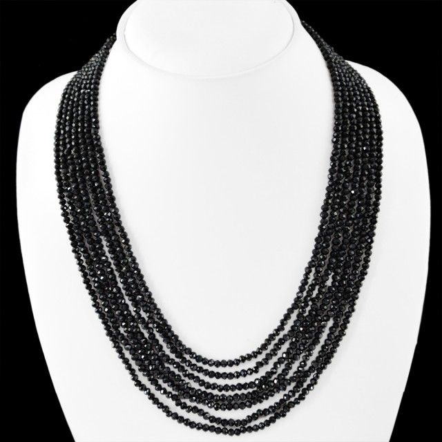 Genuine 230.00 Cts Black Spinel 7 Lines Faceted Beads Necklace  spinel beads, gemstone necklace