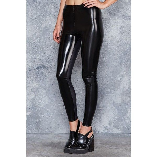 Wet look leggings with zipper