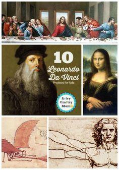 10 Leonardo Da Vinci Projects for kids - learn about Leonardo da Vinci's biography. Renaissance man of many talents including artist, science, and inventor.