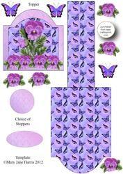 Paarse bloemen schildersezel Card