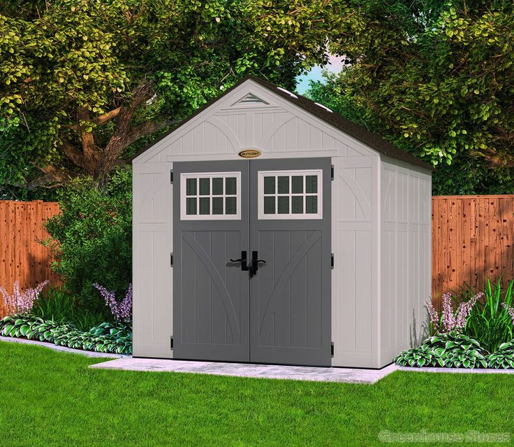 Suncast 8x7 Tremont Four Plastic Shed  http://www.greenhousestores.co.uk/Suncast-8x7-Tremont-Four-Plastic-Shed.htm
