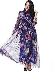 Mousseline de Soie Balançoire Robe Femme Grandes Tailles Bohème,Imprimé Mao Maxi Manches Longues Coton Polyester Eté Automne Taille Haute