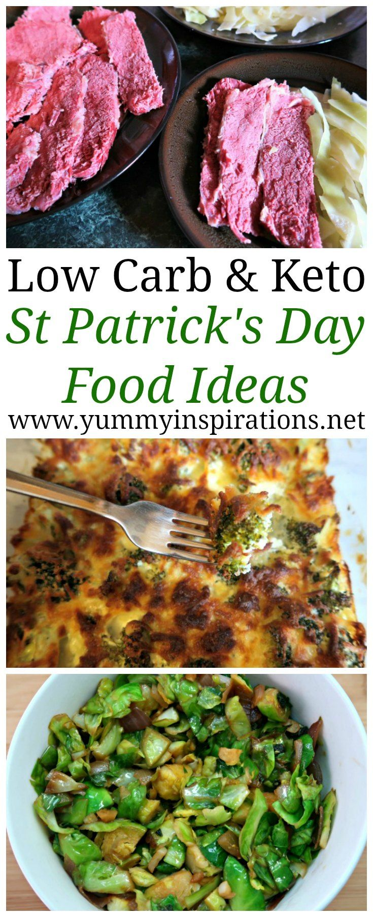 Low Carb St Patrick's Day Food Ideas - including breakfasts, desserts and dinners that are Authentic Irish and Keto Diet friendly. Including traditional Corned Beef, Cabbage and other simple dishes.
