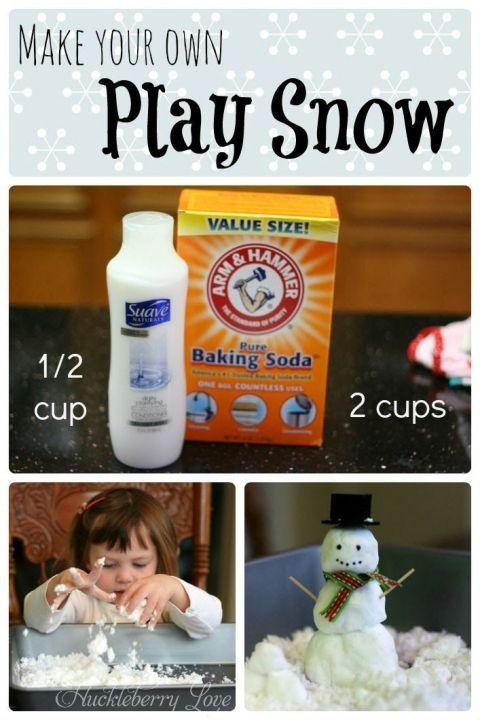 Make Your Own Play Snow 25+ Indoor Winter Activities for Kids | www.nobiggie.net