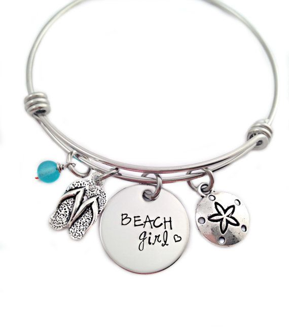 Beach Girl Bangle Bracelet - Hand Stamped Jewelry - Alex and Ani - Expandable Wire Bangle - Beach Jewelry - Flip Flop Summer - Sea Glass
