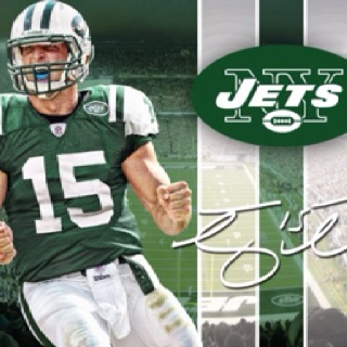 Tebow in #15 NY Jets 2012 official NFL uniform in April 2012