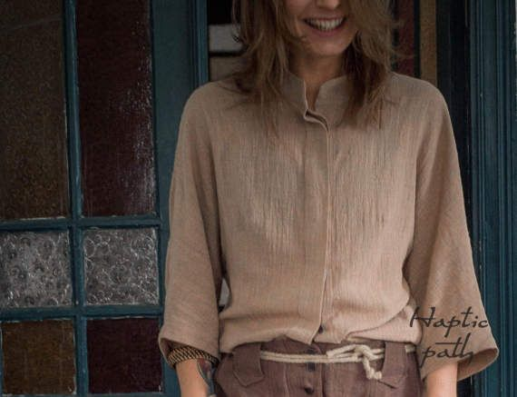 Loose fit blouse  camel colour business shirt  by HapticPath