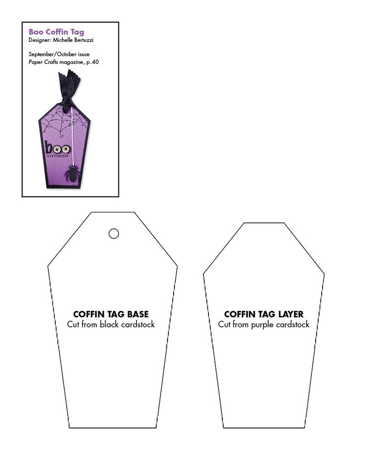 Coffin template free for making halloween art tags for Coffin cake template