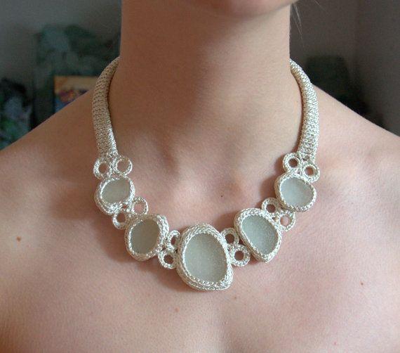 Ivory Bib Sea glass necklace statement off white crochet by astash