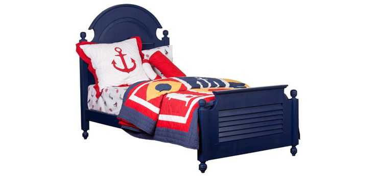 Nautical Theme Single-Size Bed in Navy Blue Finish by Pink Guppy by Pink Guppy Online - Single Beds - Furniture - Pepperfry Product