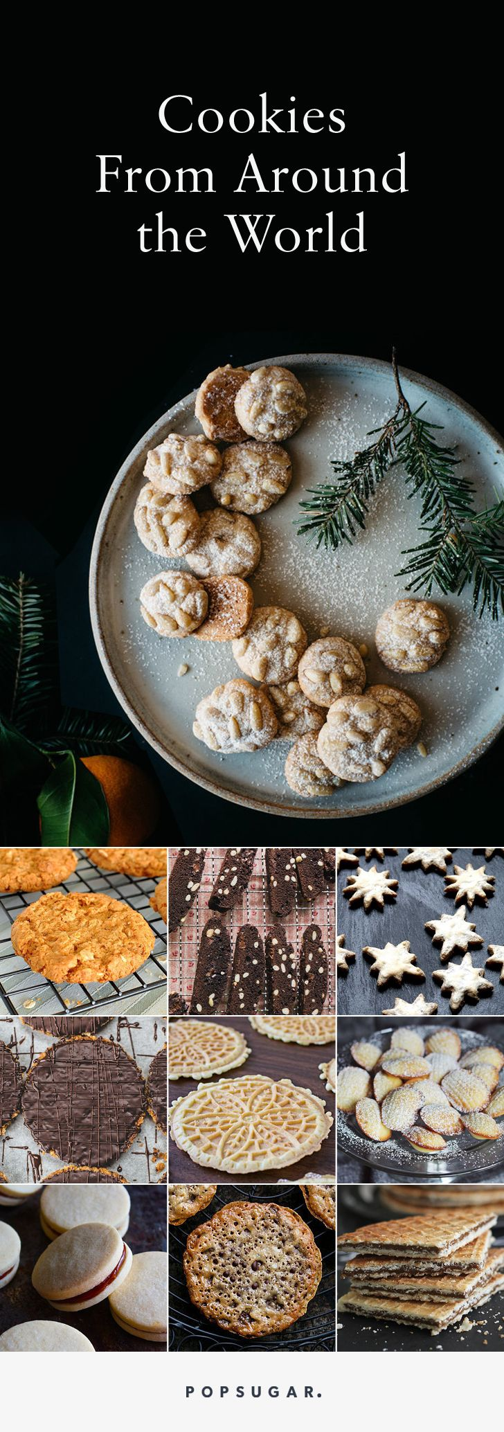 International christmas cookies- Alfajores, pizzelle, madeleines, pfeffernüsse, linzer, and more cookies from around the world.