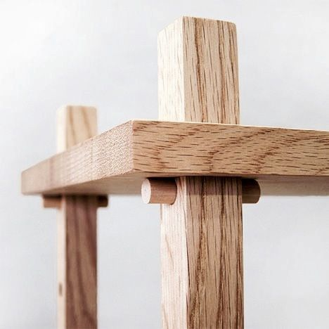 This wood pin assembly is a good way to slot legs into the table. The pin is big enough to hold the table in place while not breaking. If I have trouble slotting a table, I could use this slotting technique to effectively create a table.