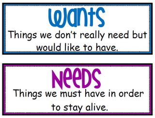 Wants and Needs/Goods and Services sort
