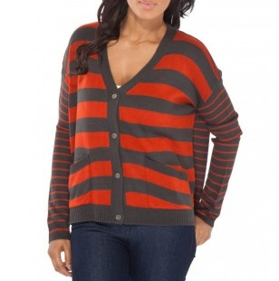 Striped V Neck Cardigan