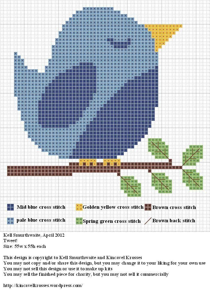 Free, cute bluebird cross stitch pattern