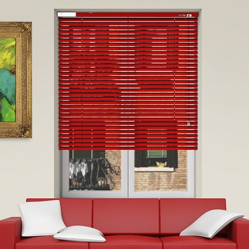 Controliss 6V DC battery Powered Soho Satin Red Venetian Blind.  #Shades #Home #HomeDecor #InteriorDesign #Decor #VenetianBlinds  #CreateYourHome #BudgetBlinds #WindowShades #Window  #Design #Blind #WindowCoverings #Windows #MadeinUK