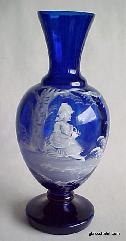 Beautiful Mary Gregory Hand Painted Cobalt Blue Vase With
