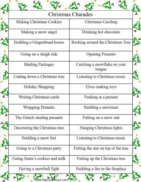 Holiday DIY Party Idea: Christmas charades | Free Printable