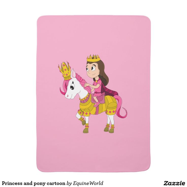 Princess and pony cartoon baby blanket