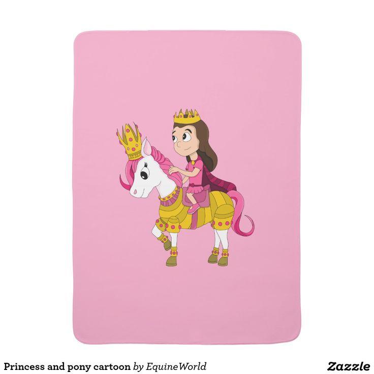 Princess and pony cartoon baby blanket