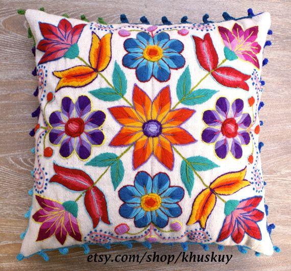 Peruvian Pillow cover Hand embroidered flowers 16 x 16in Sheep & alpaca wool handmade Cream Ethnic Boho Cushion