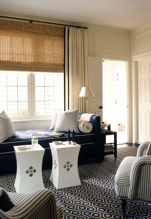 living rooms off white drapes navy blue trim bamboo roman shade navy blue tufted daybed white. Black Bedroom Furniture Sets. Home Design Ideas