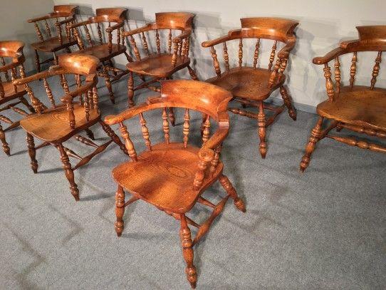 8 Captain chair in Eiche, England um 1900 Bernhardts Interior