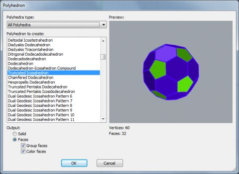 The RhinoPolyhedra plug-in for Rhinoceros 5 for Windows allow you to create over 450 different polyhedral shapes.