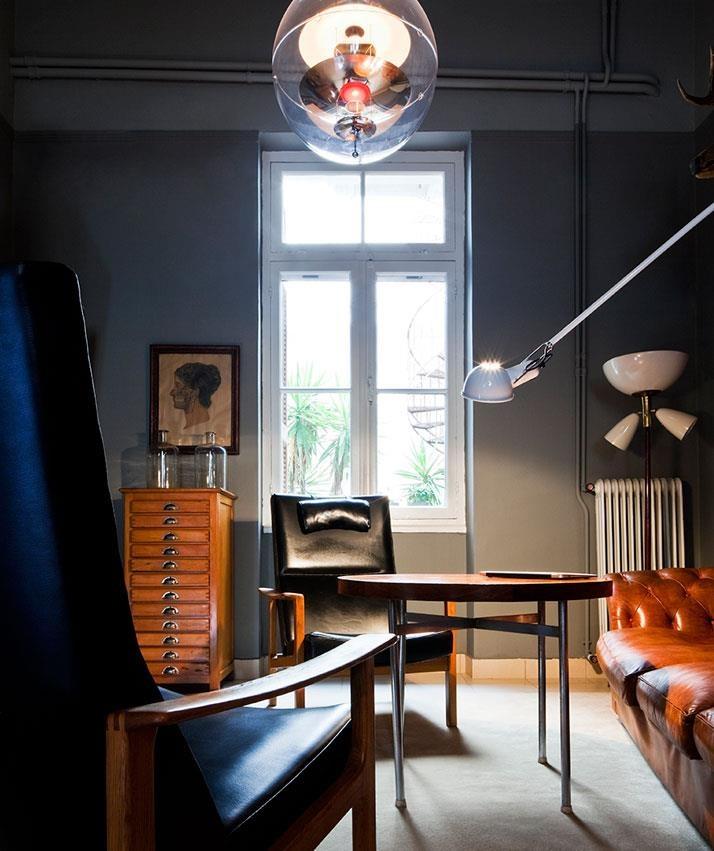 contemporary modern interior. dark grey walls, white tiles, vintage industrial, wood, danish mid-century (marie claire france)