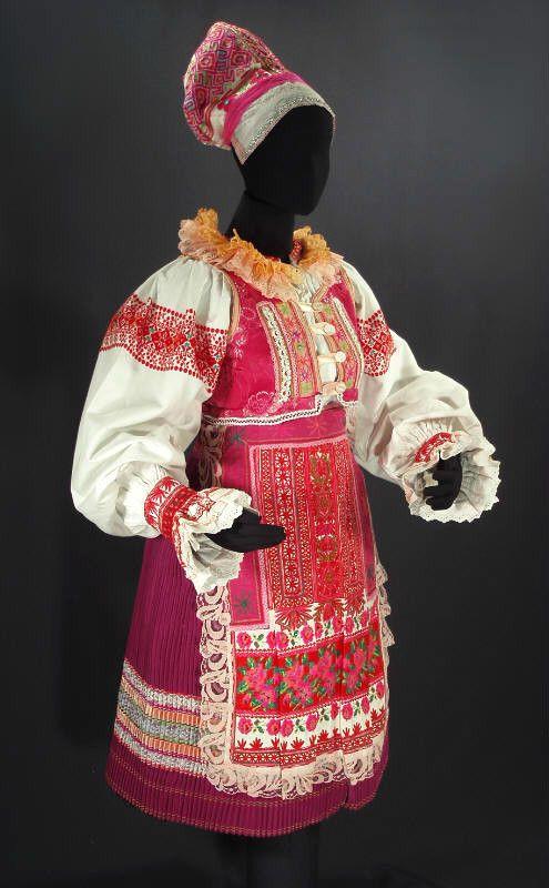 SLOVAK FOLK COSTUME woman's kroj Helpa pink dance ethnic embroidered blouse vest