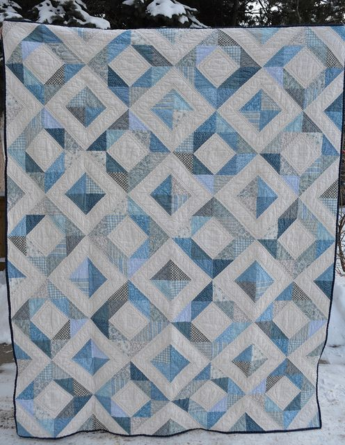 The Blue Quilt by shecanquilt, via Flickr.  Also called Depression Square - An HST quilt based on this one byt Sew Katie Did. http://sewkatiedid.wordpress.com/2010/03/25/pinning-away-the-time/