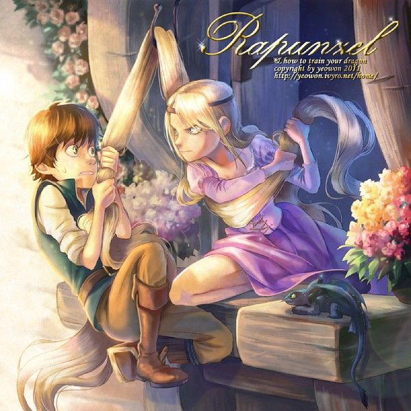 Super cute Dreamworks and Disney crossover with Hiccup as Flynn Rider/Eugene and Astrid as Rapunzel