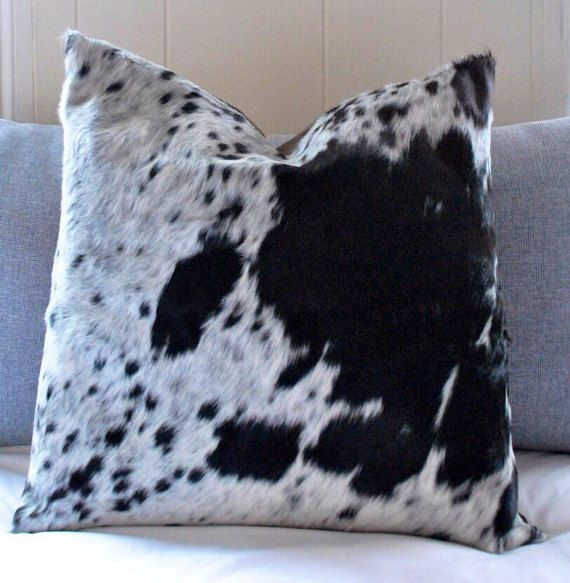 Cowhide Throw Pillow Cover Tricolor Cow hide Decorative
