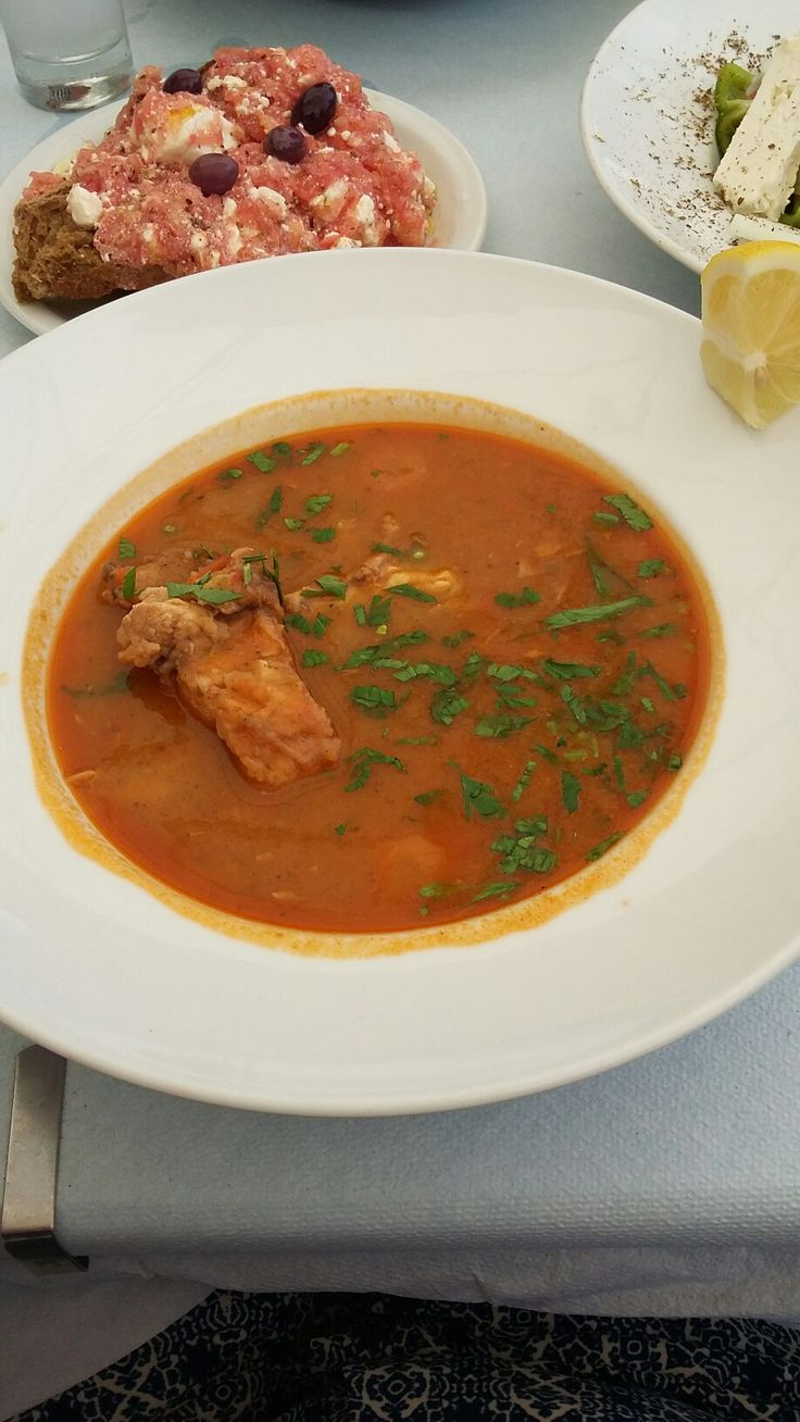 Healthy fish soup with fresh fish.