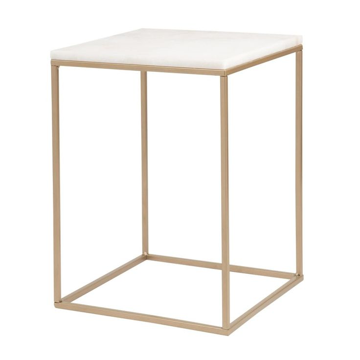 Golden Metal and White Marble Side Table